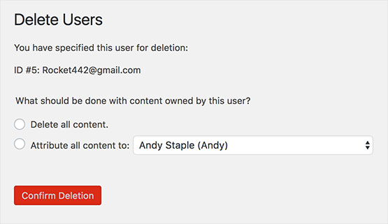 screenshot of the deletion of a user in WordPress